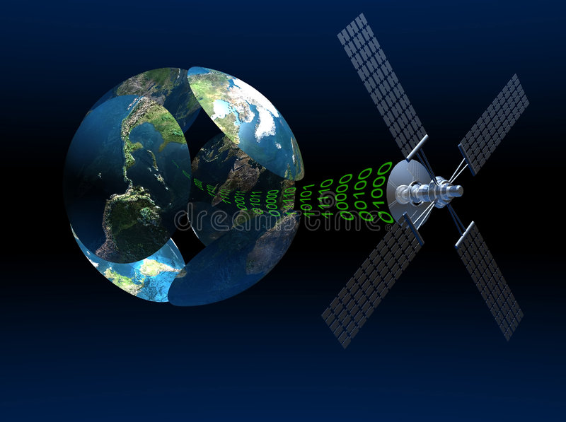 Satellite communications vector illustration