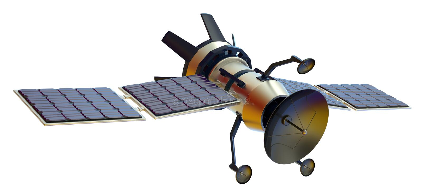 Satellite. 3D model of an artificial satellite royalty free stock photography