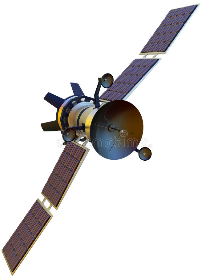 Satellite. 3D model of an artificial satellite stock images
