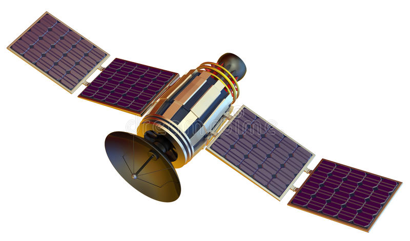 Satellite. 3D model of an artificial satellite stock image
