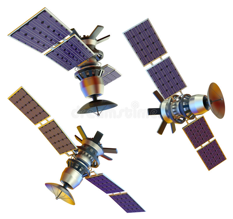 Satellite. 3D models of an artificial satellite stock images