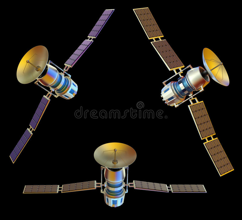 Satellite. 3D models of an artificial satellite royalty free stock images