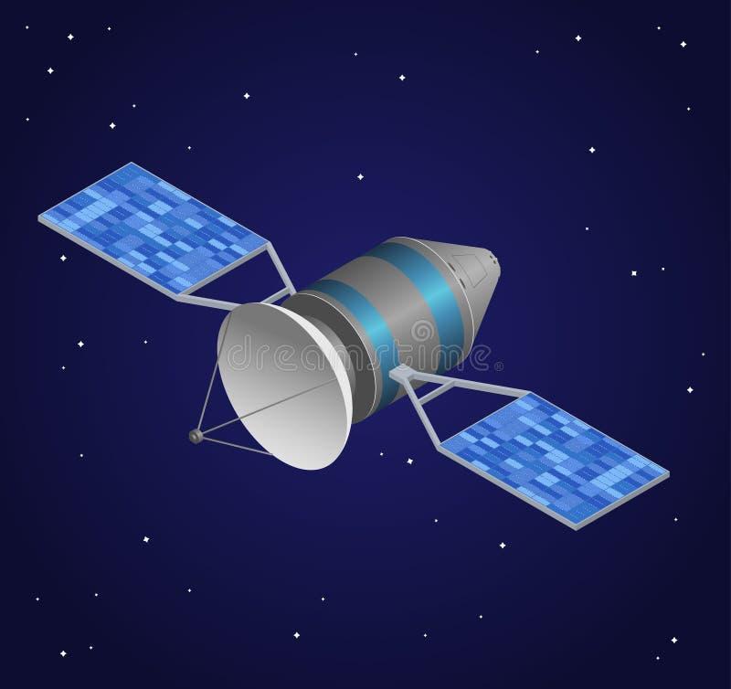 Satellite d'observation sur le fond de ciel nocturne Vue isométrique Vecteur illustration stock