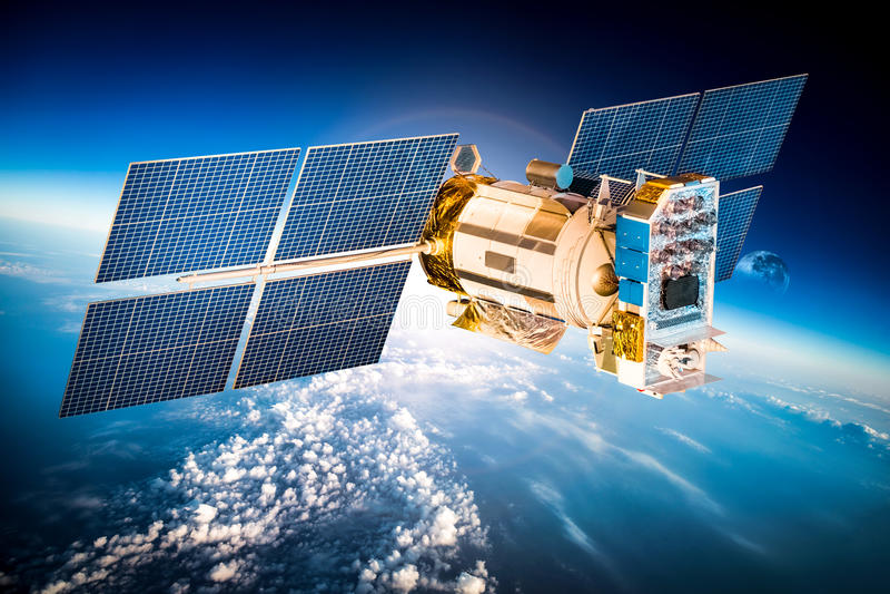 Satellite de l'espace au-dessus de la terre de planète photographie stock