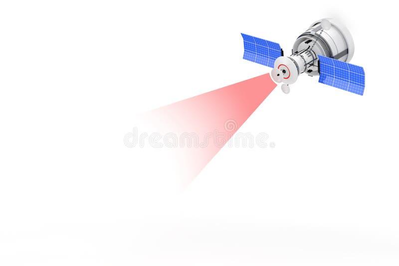 Satellite de navigation global du monde moderne avec annoncer Ray Si images stock