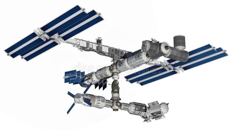 Satellite de station spatiale avec le chemin d'isolement sur le blanc illustration libre de droits