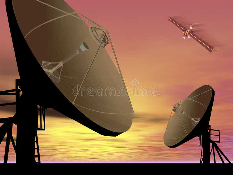 Satellite de télécommunications illustration de vecteur