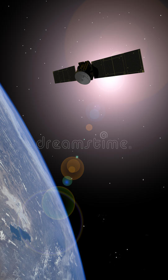 SATELLITE DE TÉLÉCOMMUNICATIONS ORBITAL DE LA TERRE illustration de vecteur