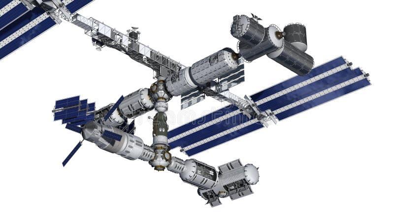 Satellite della stazione spaziale con il percorso di isolamento su bianco illustrazione vettoriale
