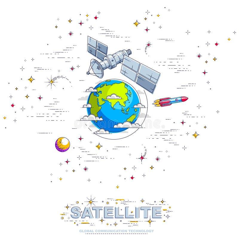 Satellite di comunicazione che pilota volo spaziale orbitale intorno alla terra, illustrazione di stock
