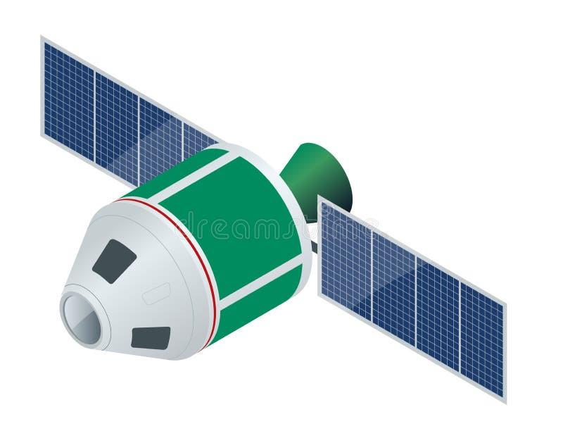 Satellite di GPS Illustrazione isometrica di vettore piano Tecnologia satellite senza fili illustrazione vettoriale