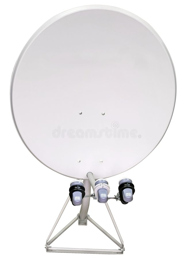 Satellite dish. Isolated satellite dish with three heads mounted on a stand royalty free stock images