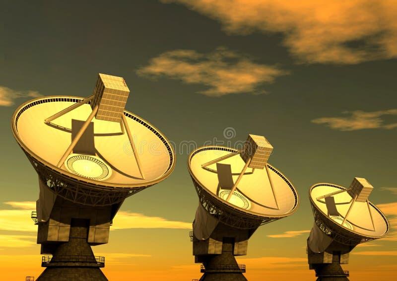 Satellite Dish 2. Three satellite dish with Morning sky background
