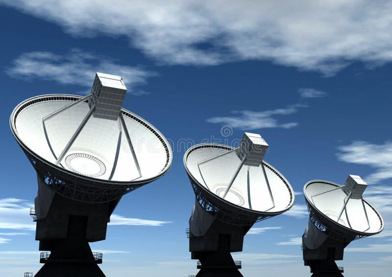 Satellite Dish. Three satellite dish with sky background