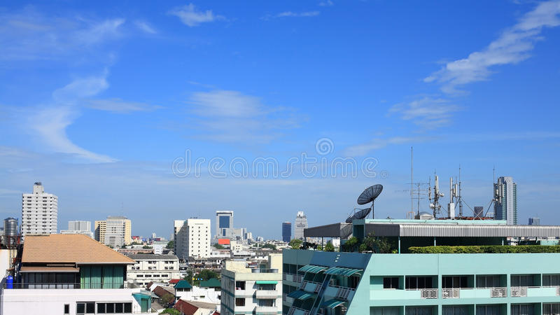 Download Satellite Dish And Antenna On High Building Royalty Free Stock Image - Image: 26009176