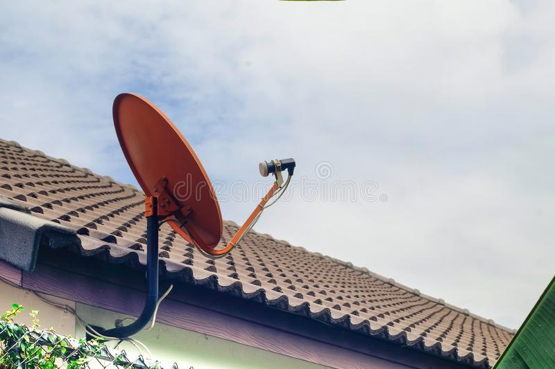 Satellite dish or satellite antennas mounted. On the roof. TV antenna concept stock images
