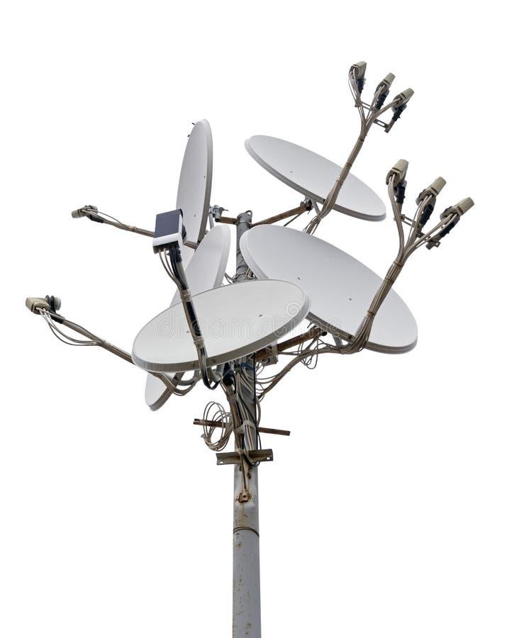 Satellite dish antennas. Isolated on white background royalty free stock image