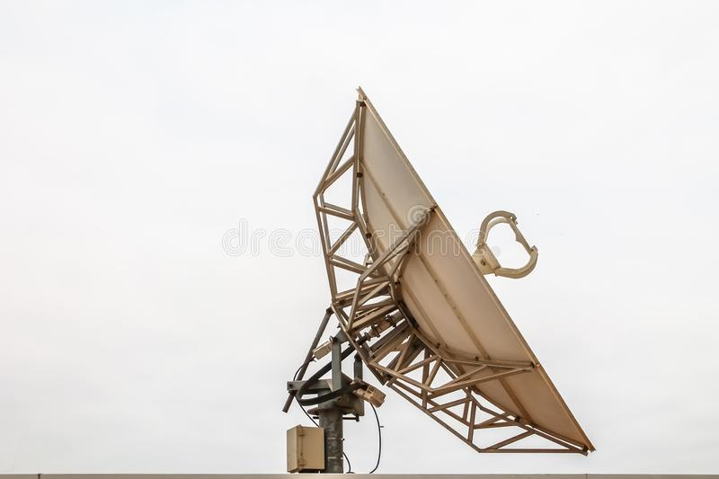 Satellite dish communications view stock image