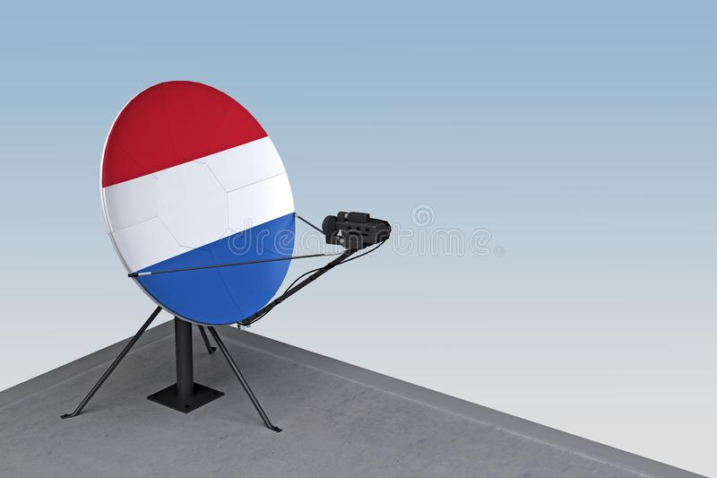 Satellite dish with the flag of Netherlands. 3d rendering vector illustration