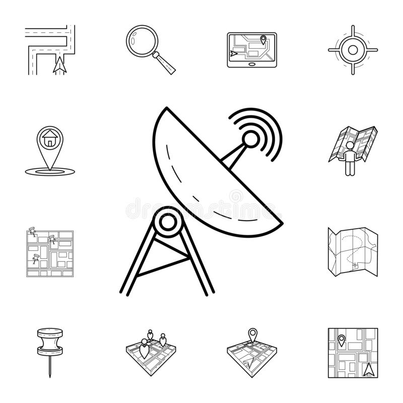 Satellite dish icon. Detailed set of navigation icons. Premium graphic design. One of the collection icons for websites, web. Design, mobile app on white stock illustration