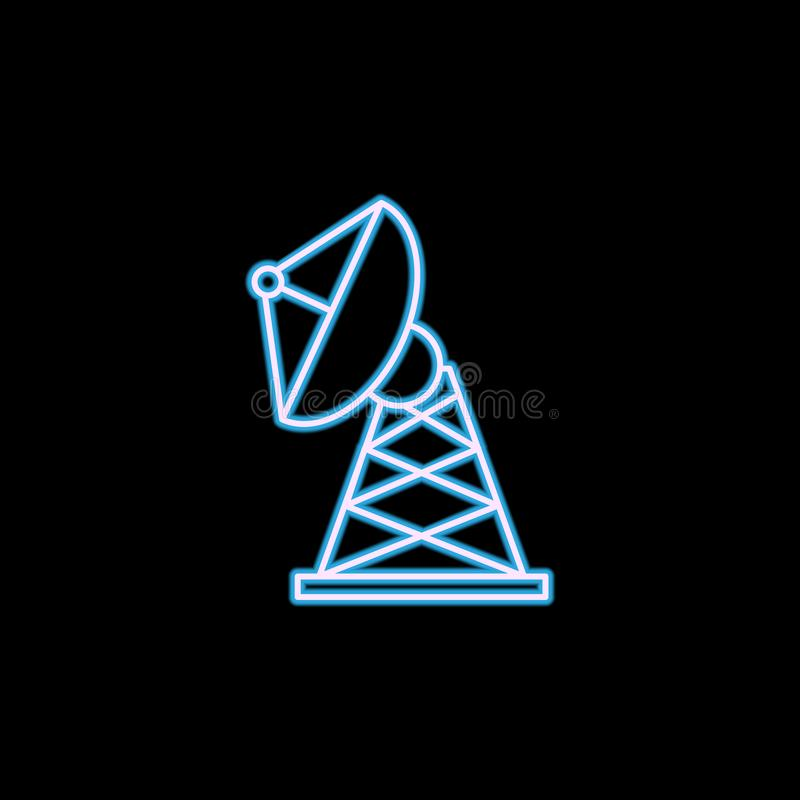 Satellite Dish icon in neon style. One of Military collection icon can be used for UI, UX. On black background vector illustration