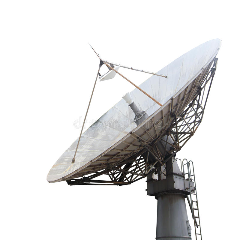 Satellite dish. Isolated on white stock images