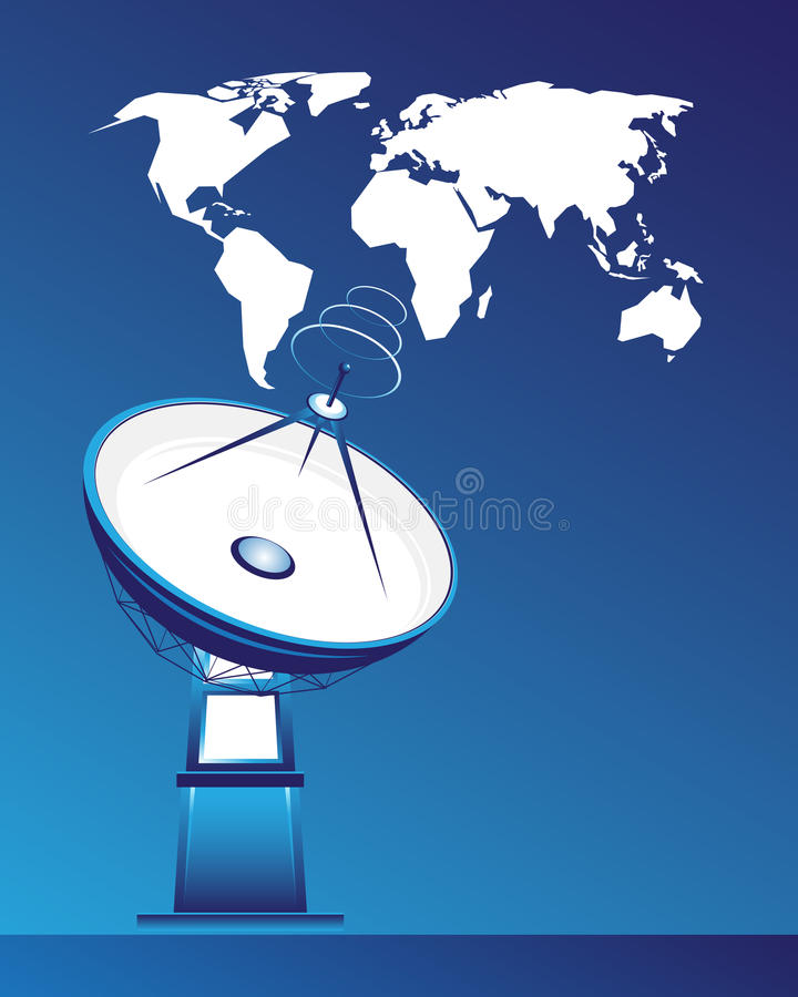 Satellite dish and map of the world royalty free illustration