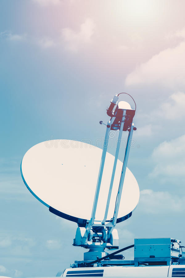 Satellite dish. Satellite dish mounted mobile vehicle royalty free stock images