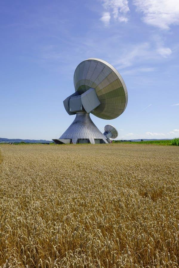 Satellite dish, Raisting Satellite Earth Station. Ground station, satellite communications, Upper Bavaria, Germany, Europe royalty free stock photo