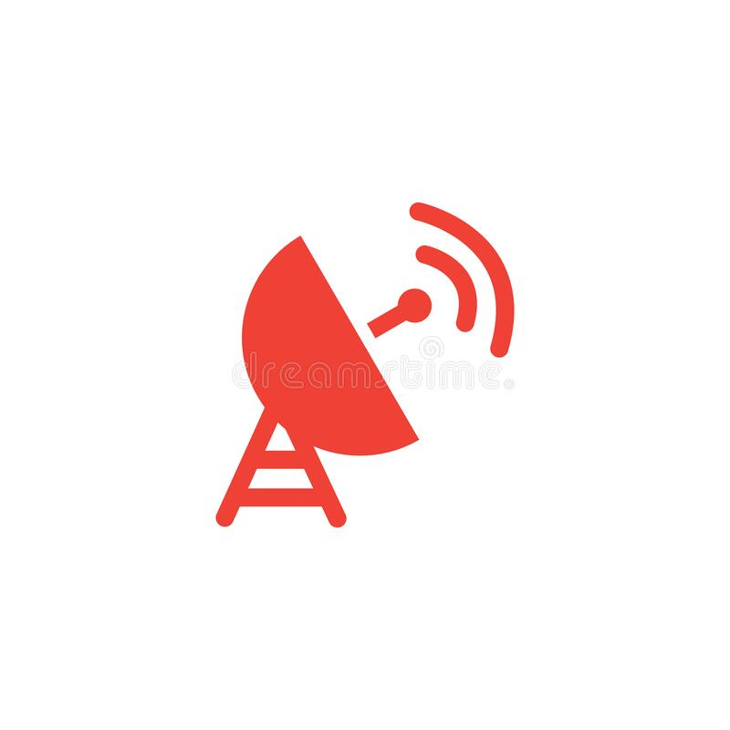 Satellite Dish Red Icon On White Background. Red Flat Style Vector Illustration.  royalty free illustration