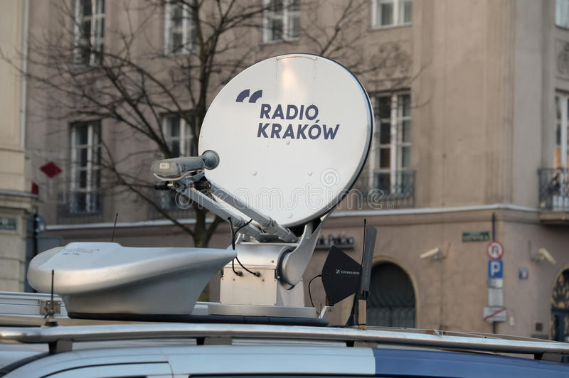Satellite dish on the roof of the van. Krakow, Poland - December 17, 2016: Satellite dish on the roof of the Radio Krakow car royalty free stock images