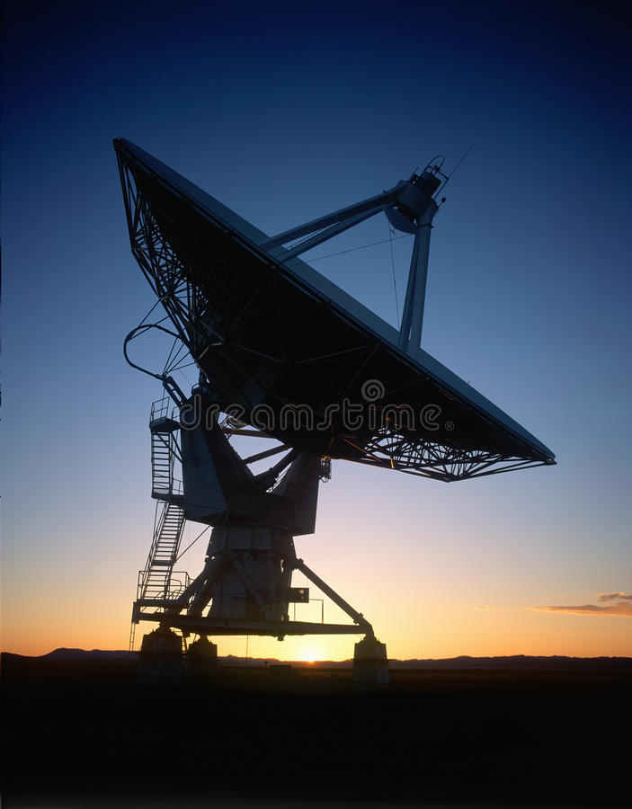 Satellite Dish At Sunset Stock Images