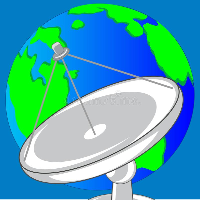 Satellite dish and planet land vector illustration