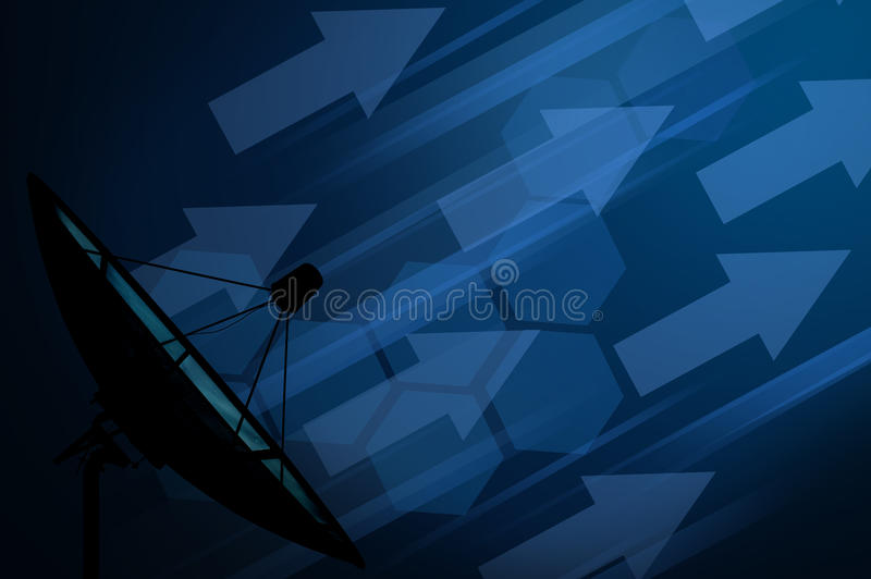 Satellite dish transmission data with technology background royalty free stock photography
