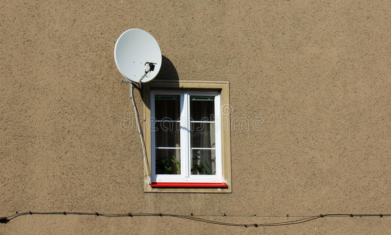 Satellite Dish At The Window Stock Images