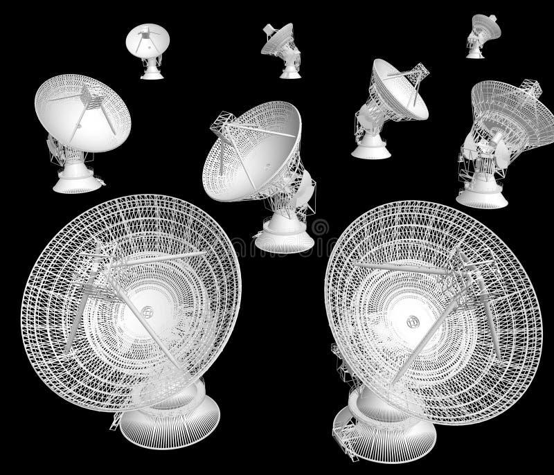 Satellite dishes on the black vector illustration