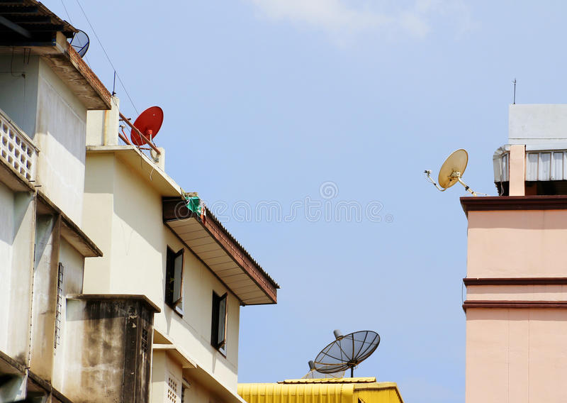 Satellite Dishes With Modern Buildings Editorial Image