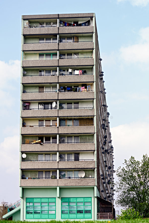 Satellite Dishes On The Facade Of A Tower Block Stock Photography