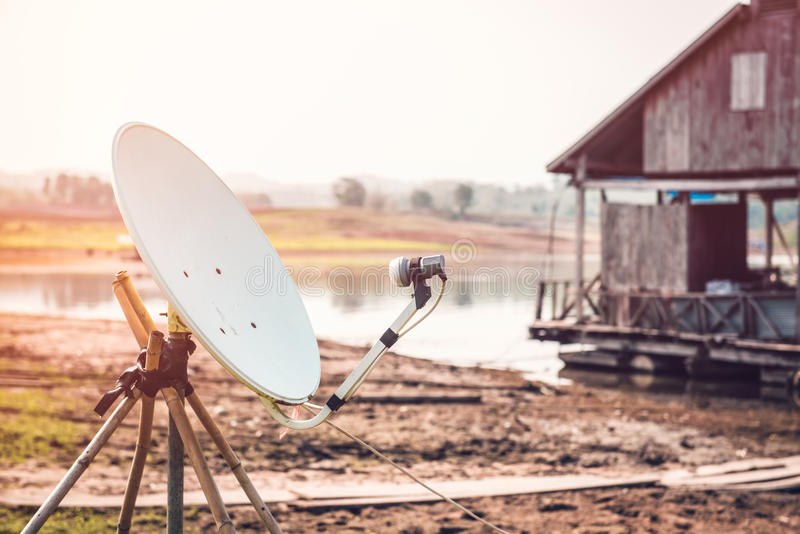 Satellite dishes installed in the countryside. royalty free stock photography