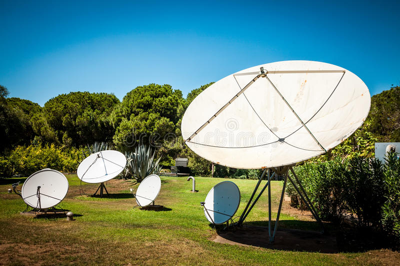 Satellite Dishes On The Nature Stock Photography