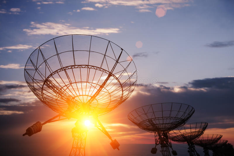 Satellite dishes with sky royalty free stock photography