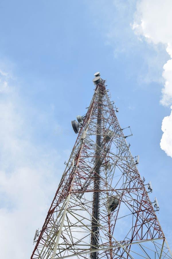 Satellite dishes for telecommunication stock photos