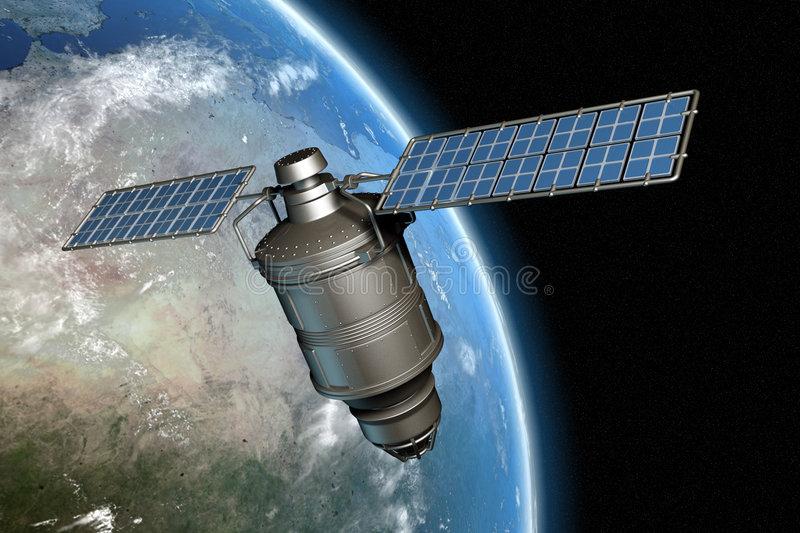 Satellite and earth 11 royalty free illustration