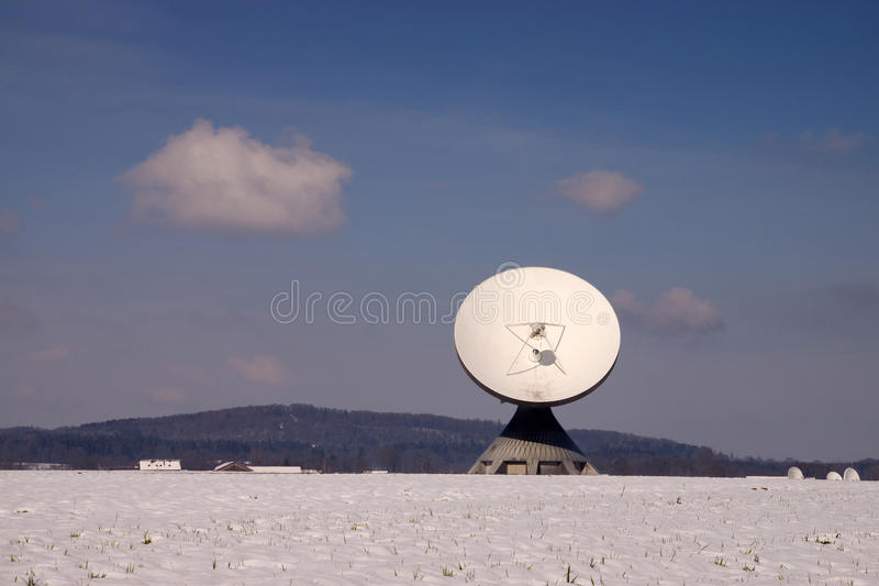 Satellite Earth Station Raisting. The Satellite Earth Station Raisting is a ground communication parabolic antenna complex for telecommunication royalty free stock image