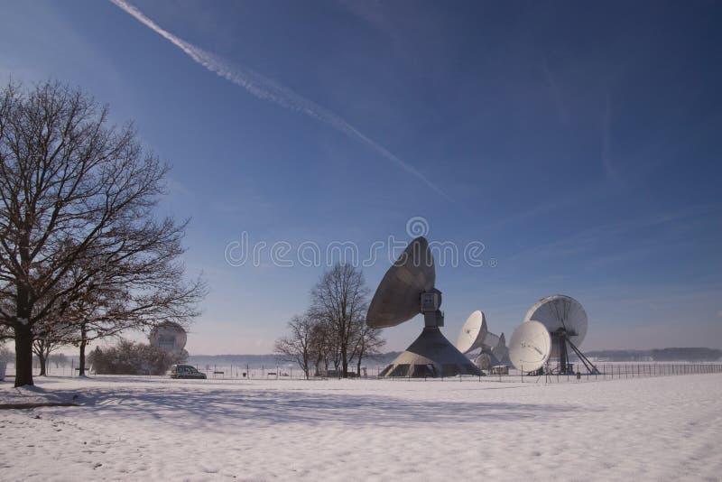 Satellite Earth Station Raisting. The Satellite Earth Station Raisting is a ground communication parabolic antenna complex for telecommunication stock image