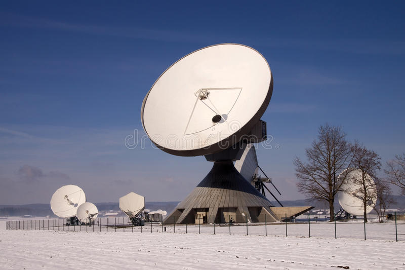 Satellite Earth Station Raisting. The Satellite Earth Station Raisting is a ground communication parabolic antenna complex for telecommunication royalty free stock images