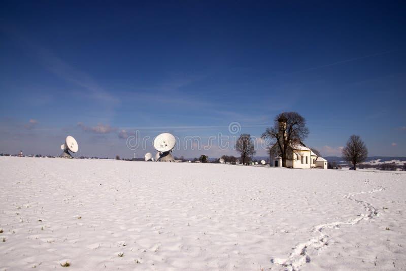 Satellite Earth Station Raisting. The Satellite Earth Station Raisting is a ground communication parabolic antenna complex for telecommunication royalty free stock photography