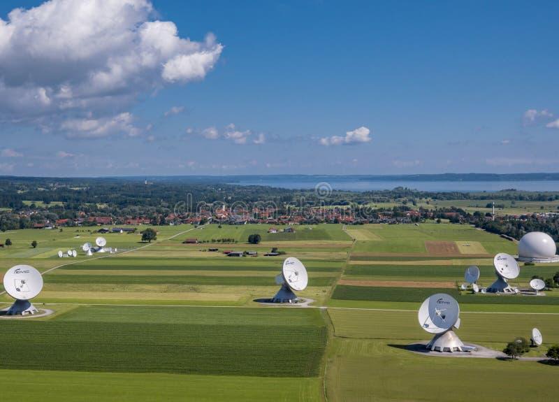 Satellite earth station Raisting, Upper Bavaria, Germany. Satellite earth station Raisting, satellite antennae, Lake Ammersee, Pfaffenwinkel, Upper Bavaria royalty free stock photo