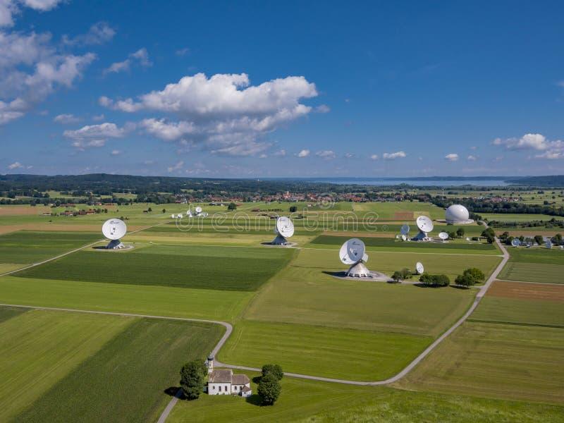 Satellite earth station Raisting, Upper Bavaria, Germany. Satellite earth station Raisting, satellite antennae, Lake Ammersee, Pfaffenwinkel, Upper Bavaria stock image