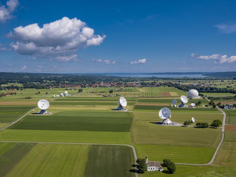 Satellite earth station Raisting, Upper Bavaria, Germany. Satellite earth station Raisting, satellite antennae, Lake Ammersee, Pfaffenwinkel, Upper Bavaria royalty free stock images